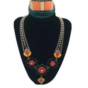 J Crew Multi Chain Statement Necklace Bracelet Lot